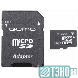 Карта памяти SDmicro Card 32Gb QUMO (QM32GMICSDHC10U1) CL10 UHS-I SD adapter
